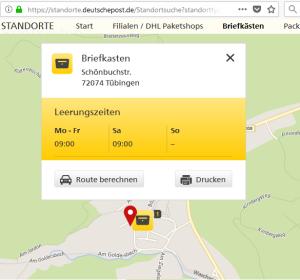 Briefkasten Bebenhausen Mo-Sa 9:00Uhr